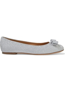 Salvatore Ferragamo Woman Bow-embellished Glittered Leather Ballet Flats Silver