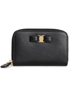Salvatore Ferragamo Woman Vara Bow-embellished Textured-leather Wallet Black