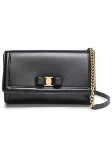 Salvatore Ferragamo Woman Bow-embellished Textured-leather Shoulder Bag Black