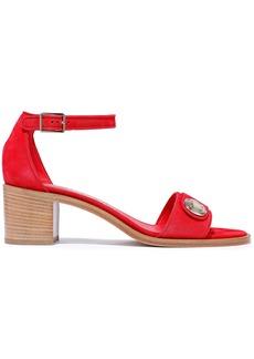 Salvatore Ferragamo Woman Button-embellished Suede Sandals Tomato Red