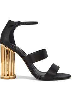 Salvatore Ferragamo Woman Daiano Leather-trimmed Satin Sandals Black