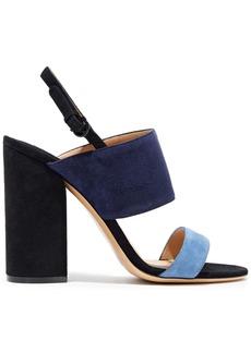 Salvatore Ferragamo Woman Elba Color-block Suede Slingback Sandals Navy