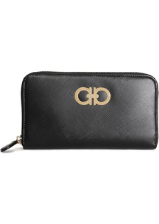 Salvatore Ferragamo Woman Embellished Textured-leather Continental Wallet Black