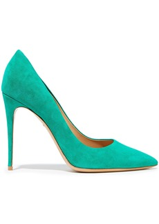 Salvatore Ferragamo Woman Fiore 100 Suede Pumps Jade