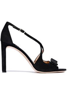 Salvatore Ferragamo Woman Gabrielle Bow-embellished Suede Sandals Black