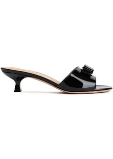 Salvatore Ferragamo Woman Ginostra Bow-embellished Patent-leather Mules Black