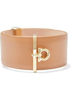 Salvatore Ferragamo Woman Logo-embellished Gold-tone And Leather Cuff Light Brown