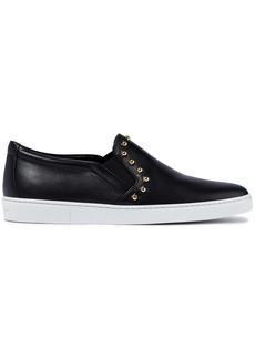Salvatore Ferragamo Woman Spargi Studded Leather Slip-on Sneakers Black