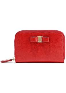 Salvatore Ferragamo Woman Vara Bow-embellished Textured-leather Wallet Crimson