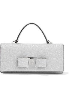Salvatore Ferragamo Woman Vara Mini Bow-embellished Glittered Leather Clutch Silver