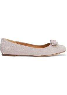 Salvatore Ferragamo Woman Varina Bow-embellished Glittered Woven Ballet Flats Rose Gold