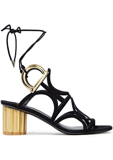 Salvatore Ferragamo Woman Vinci Cutout Metallic-trimmed Suede Sandals Black