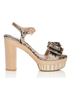 Salvatore Ferragamo Women's Bow-Embellished Jacquard Platform Sandals