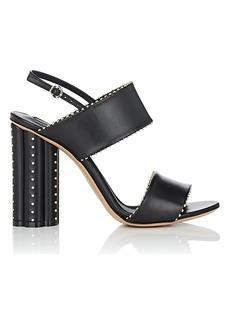 Salvatore Ferragamo Women's Flower-Heel Studded Leather Slingback Sandals