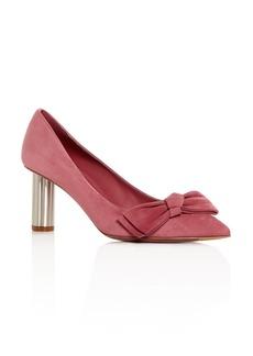 Salvatore Ferragamo Women's Garlate Suede Pointed Toe Floral Heel Pumps