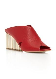 Salvatore Ferragamo Women's Lasa Leather Crisscross Floral Wedge Slide Sandals