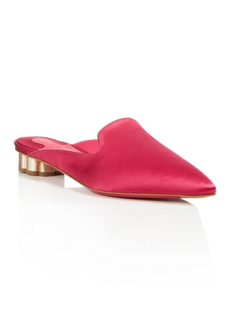 Salvatore Ferragamo Women's Satin Pointed Toe Floral Heel Mules