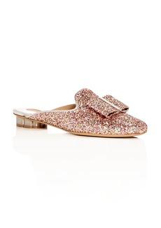 Salvatore Ferragamo Women's Sciacca Glitter Floral Heel Mules