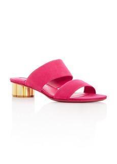 Salvatore Ferragamo Women's Suede Floral Heel Slide Sandals
