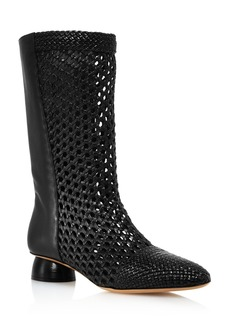 Salvatore Ferragamo Women's Tarsinavit Woven Leather Mid-Calf Boots