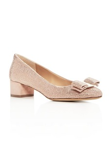 Salvatore Ferragamo Women's Vara Crystal Embellished Suede Pumps