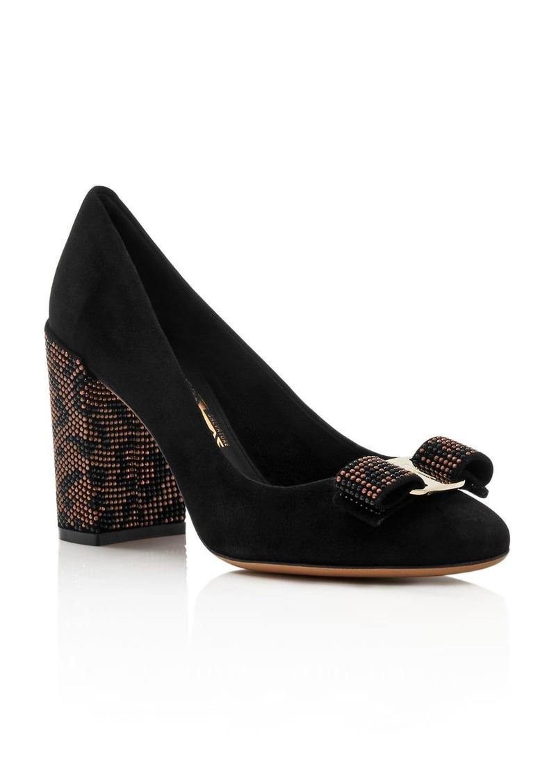 Salvatore Ferragamo Women's Vara Suede Embellished Block-Heel Pumps