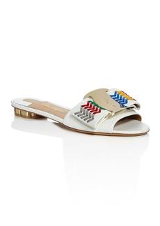 Salvatore Ferragamo Women's Woven Leather Bow Slide Sandals