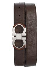 Salvatore Ferragamo Wood Accent Reversible Leather Belt