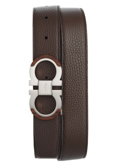 Salvatore Ferragamo Wood Accent Reversible Leather Belt