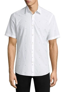 Ferragamo Woven Cotton Button-Down Shirt