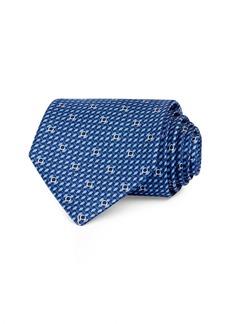 Salvatore Ferragamo Woven Gancini Silk Classic Necktie