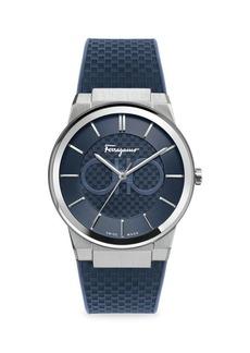 Ferragamo Sapphire Stainless Steel & Rubber Strap Watch