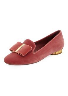 Ferragamo Sarno Velvet Loafers with Vara Bow
