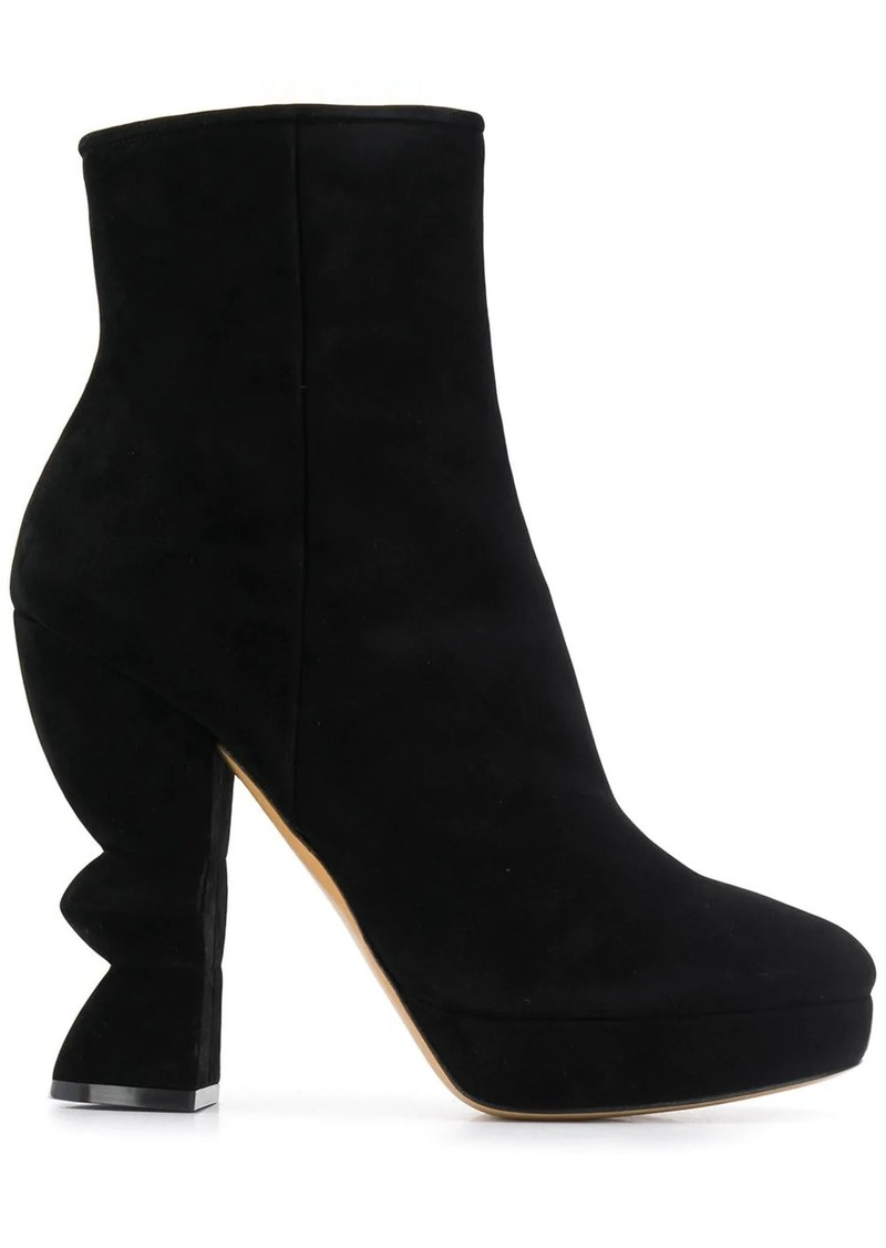 Ferragamo sculptural heel boots