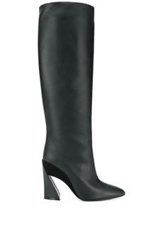Ferragamo sculptured heel 115mm knee length boots