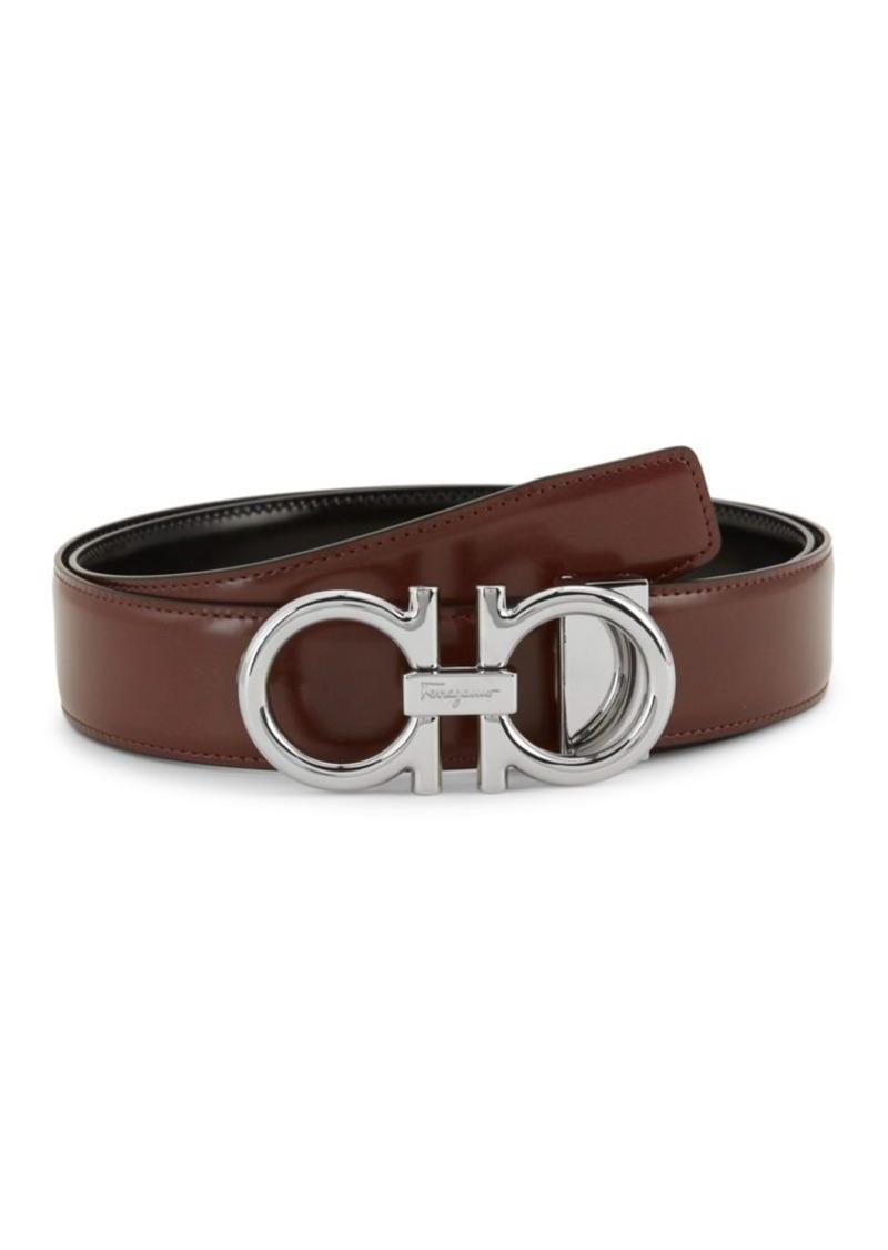 Ferragamo Shiny Double G Leather Belt
