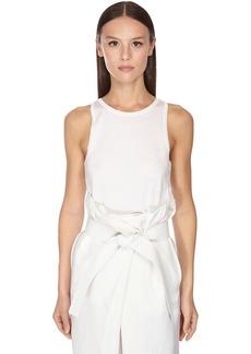 Ferragamo Silk & Cotton Knit Tank Top W/ Logo