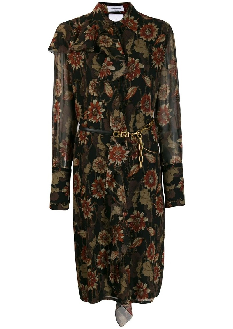 Ferragamo silk crepe printed dress