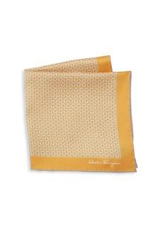 Ferragamo Silk Interlocking Gancini Print Pocket Square