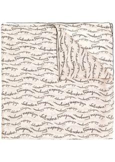 Ferragamo silk lettering logo print stole