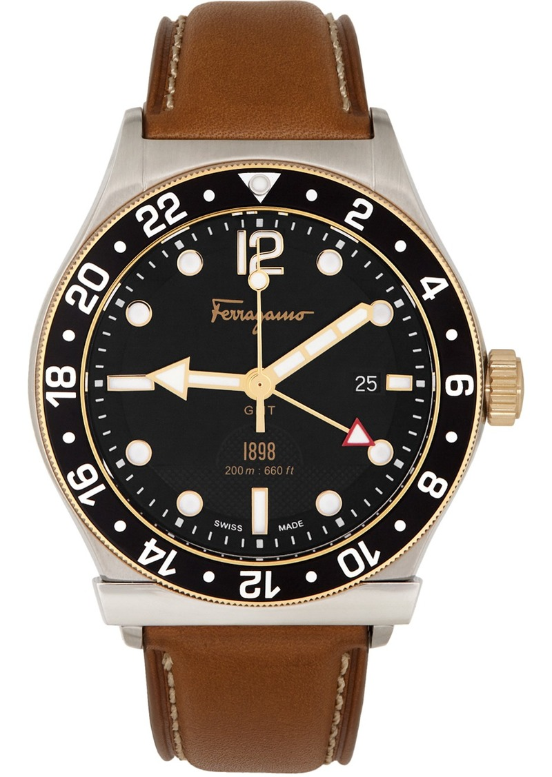 Ferragamo Silver & Brown 1898 GMT Watch