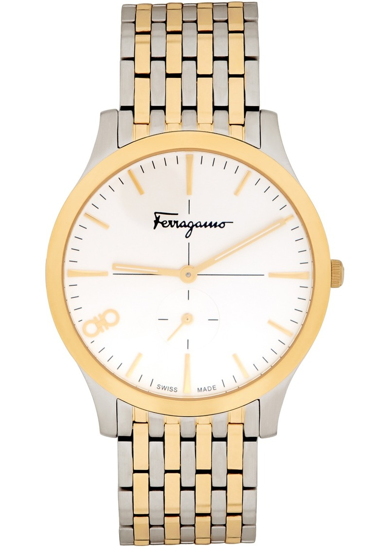 Silver & Gold 'Ferragamo' Slim Watch