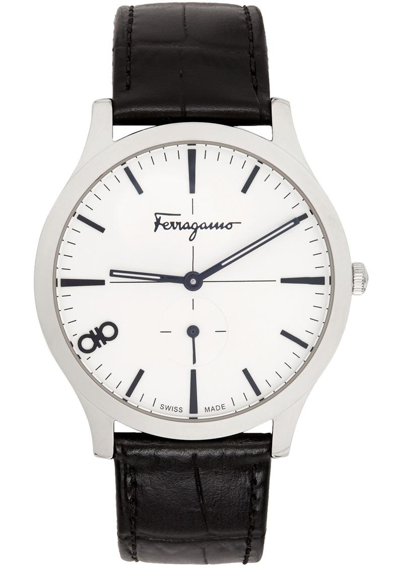 Silver Croc 'Ferragamo' Slim Watch