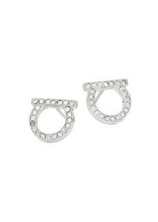 """Ferragamo Silvertone & Pavé Logo Stud Earrings/0.5"""""""