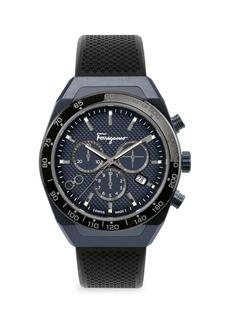 Ferragamo SLX Blue-Black IP & Rubber Strap Chronograph Watch