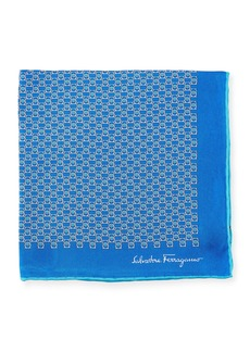 Ferragamo Solid Border Gancini Silk Pocket Square