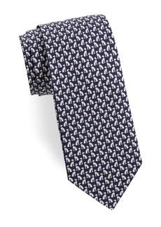 Ferragamo Spotted Dog Silk Tie