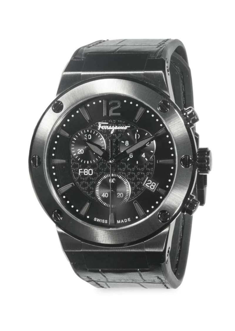 Ferragamo Stainless Steel & Croc-Embossed Leather Strap Chronograph Watch