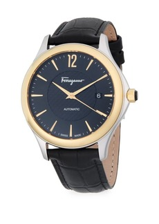 Ferragamo Stainless Steel Automatic Leather-Strap Watch