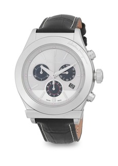 Ferragamo Stainless Steel Chronograph Leather-Strap Watch